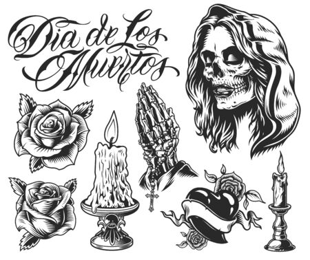 Dia De Los Muertos elements set with roses woman skull in hood candles in candlesticks heart praying skeleton hands with rosary in vintage monochrome style isolated vector illustration
