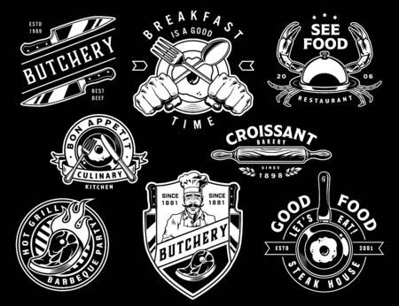 Vintage monochrome cooking emblems with butcher meat knives hands holding fork and spoon rolling pin steaks omelette on frying pan sea food isolated vector illustration