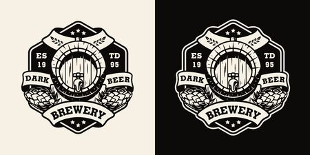 Vintage brewing monochrome emblem with beer wooden barrel and hop cones isolated vector illustration