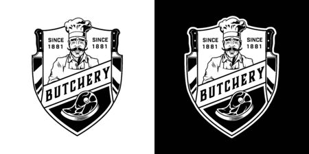 Vintage butchery monochrome label with mustached butcher steak and knives isolated vector illustration