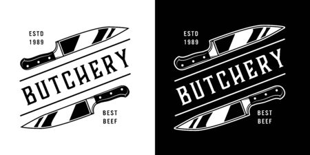 Vintage butchery emblems with meat knives and inscriptions in monochrome style isolated vector illustration