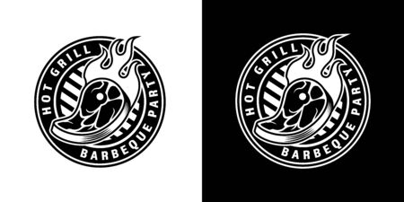 Vintage barbecue party round emblem with fiery steak in monochrome style isolated vector illustration Çizim