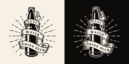 Vintage brewing monochrome emblem with glass beer bottle and ribbon around it isolated vector illustration