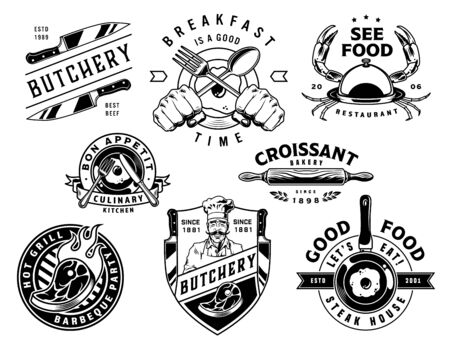 Vintage cooking monochrome designs set with butchery shop seafood restaurant barbecue party bakery breakfast time labels and emblems isolated vector illustration