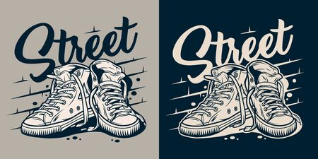 Vintage college style badge with sneakers in monochrome style isolated vector illustration