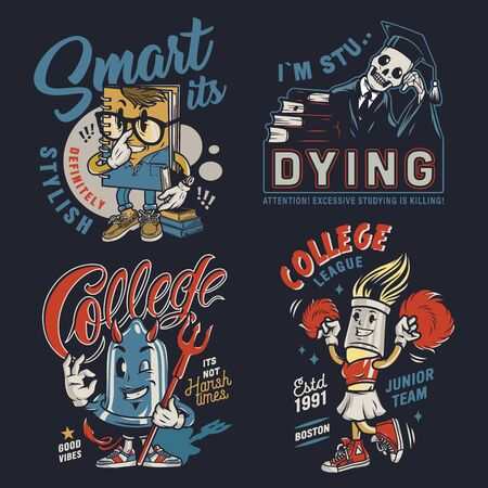 College colorful vintage badges with funny characters of smart notepad brush cheerleader skeleton in mantle and graduation cap condom with devil horns tail trident isolated vector illustration 写真素材 - 128825414