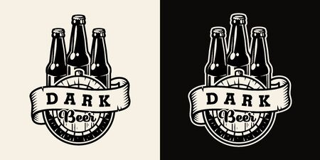 Vintage brewing badge with ribbon around wooden cask and glass bottles of dark beer in monochrome style isolated vector illustration Illustration