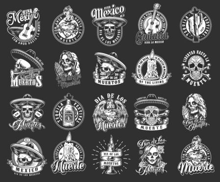 Dia De Los Muertos monochrome emblems with sugar skulls and different mexican traditional elements isolated vector illustration
