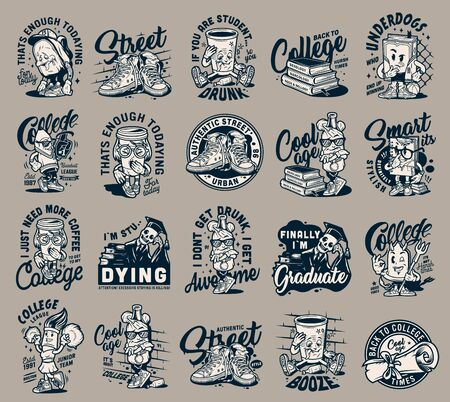 Vintage college monochrome labels set with sneakers diploma scroll stack of books and different funny university characters isolated vector illustration