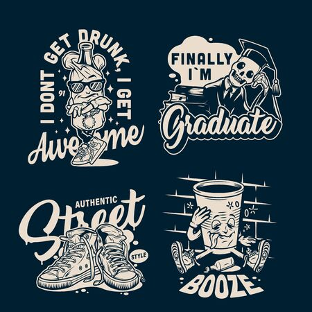 Vintage college and university badges with sneakers and funny characters in monochrome style isolated vector illustration
