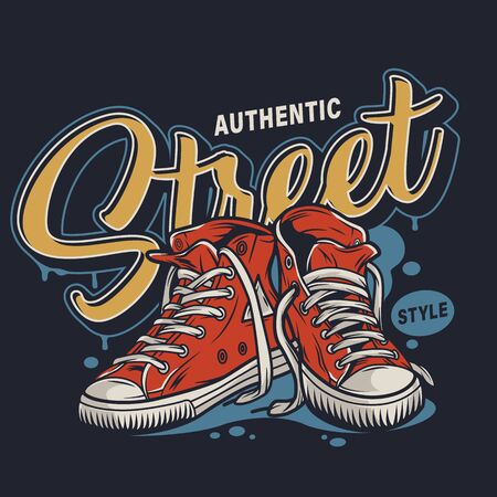 College colorful print with street style sneakers shoes in vintage style isolated vector illustration Иллюстрация