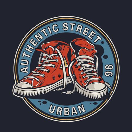 Colorful college footwear round badge with pairs of sneakers in vintage style isolated vector illustration
