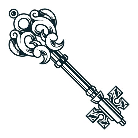 Vintage filigree medieval key concept in monochrome style isolated vector illustration