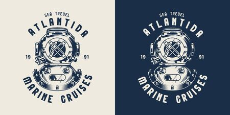 Vintage nautical emblem with diver helmet in monochrome style isolated vector illustration
