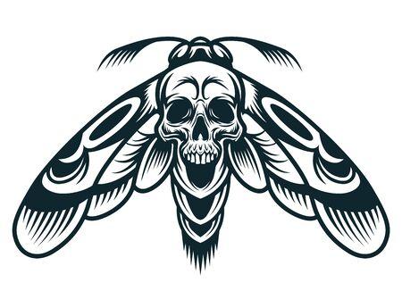 Concepto de avispa monocromo vintage con cráneo espeluznante entre alas ilustración vectorial aislada