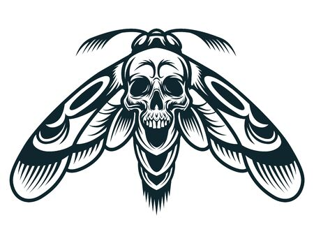 Vintage monochrome wasp concept with spooky skull between wings isolated vector illustration