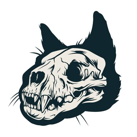 Vintage cat skull concept in monochrome style isolated vector illustration