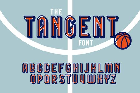 Vintage colorful tangent sport font with English alphabet letters and basketball ball vector illustration Illusztráció