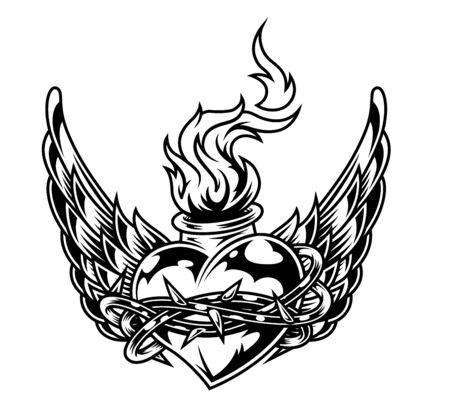 Botella en forma de corazón ardiente en alambre con alas de águila en estilo monocromo vintage aislado ilustración vectorial