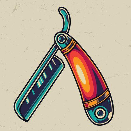Vintage straight razor colorful template on light background isolated vector illustration Illustration