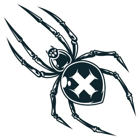 Spooky cross spider in vintage monochrome style isolated vector illustration