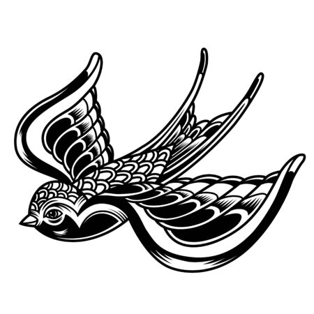 Vintage beautiful flying swallow in monochrome style isolated vector illustration Illustration