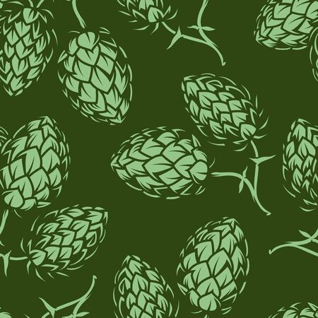 Vintage brewing green seamless pattern with hop cones silhouettes vector illustration Ilustrace