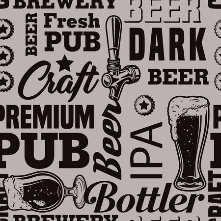 Vintage brewery monochrome seamless pattern with beer glasses tap caps and various lettering vector illustration