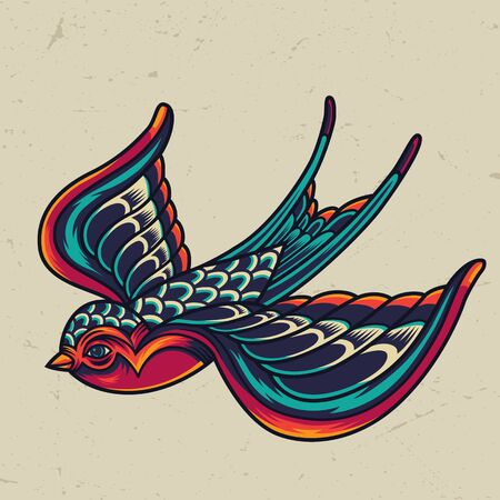 Plantilla colorida de golondrina voladora en estilo vintage sobre fondo claro aislado ilustración vectorial
