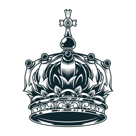 Vintage ornate royal crown concept in monochrome style isolated vector illustration  イラスト・ベクター素材