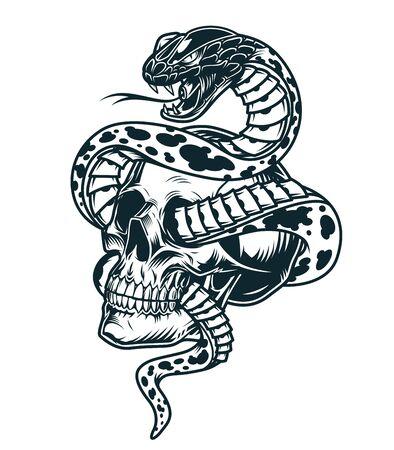 Serpent entrelacé avec un modèle de crâne dans une illustration vectorielle isolée de style monochrome vintage