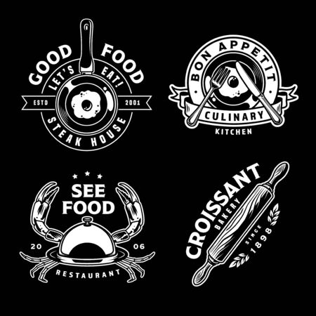 Vintage monochrome cooking designs with seafood restaurant bakery steak house cafe emblems and labels isolated vector illustration