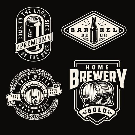 Vintage brewery emblems with beer aluminum can bottle wooden casks wheat ears on dark background isolated vector illustration