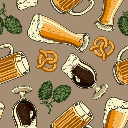 Vintage brewing colorful seamless pattern with hop cones pretzel glass and mug full of beer vector illustration Illustration