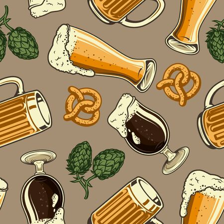 Vintage brewing colorful seamless pattern with hop cones pretzel glass and mug full of beer vector illustration Çizim