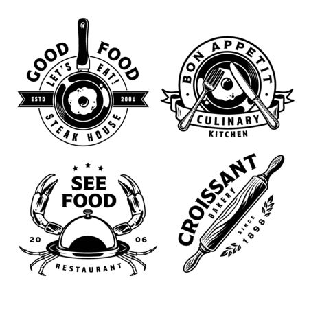 Vintage cooking prints with omelette on frying pan fork knife rolling pin restaurant cloche with crab limbs isolated vector illustration