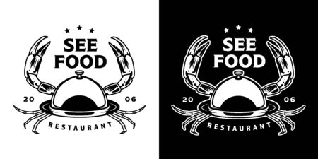 Vintage seafood monochrome emblem with restaurant cloche with crab limbs isolated vector illustration