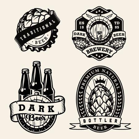 Vintage brewing monochrome badges set with hop cones beer bottles cap wooden barrel isolated vector illustration