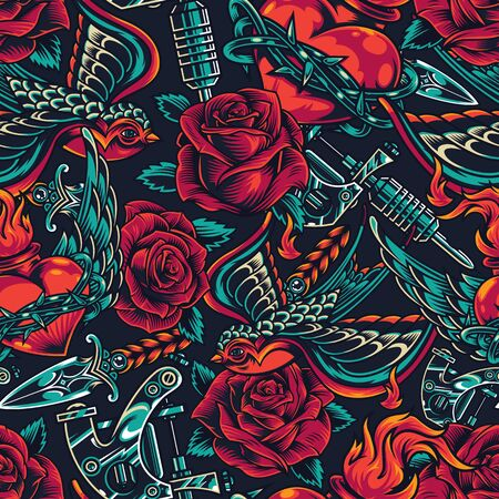Vintage flash tattoos designs seamless pattern with roses tattoo machine flying swallow dagger fiery heart in barbed wire vector illustration Ilustração