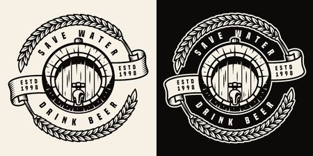 Vintage brewing print with wooden cask of beer and wheat ears in monochrome style isolated vector illustration Vectores