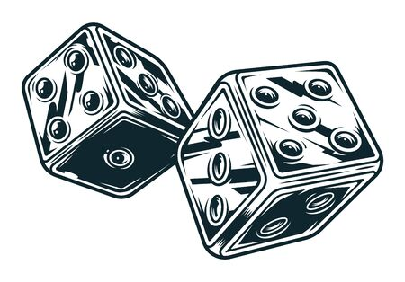 Vintage original dices concept in monochrome style isolated vector illustration