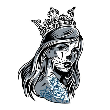 Vintage chicano girl wearing crown with round earrings and flowers tattoo on shoulder isolated vector illustration 向量圖像