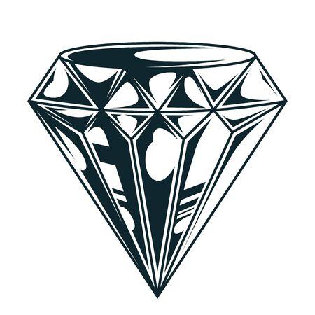 Vintage elegant diamond monochrome concept isolated vector illustration
