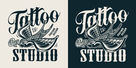 Vintage tattoo studio logotype with swallow keeps rose in its beak in monochrome style isolated vector illustration