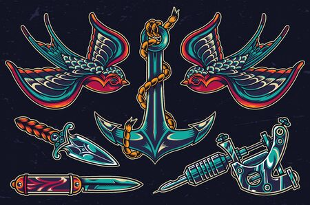 Colorful flash tattoos set with ship anchor tattoo machine knives flying swallows in vintage style isolated vector illustration
