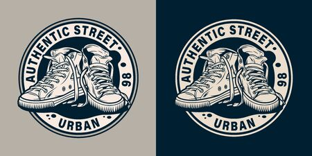 Vintage monochrome college round emblem with modern urban sneakers isolated vector illustration