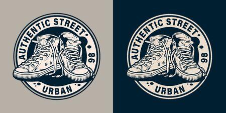 Vintage monochrome College-Runde Emblem mit modernen urbanen Turnschuhen isolierte Vektor-Illustration Vektorgrafik