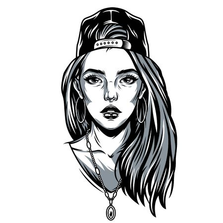 Vintage pretty girl in baseball cap with round earrings and necklace in monochrome style isolated vector illustration
