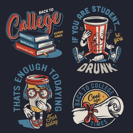 Vintage college colorful labels with stack of books diploma scroll drunk paper cup and yawning coffee cup characters on dark background isolated vector illustration