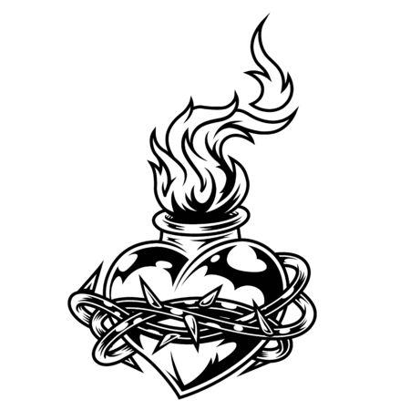 Plantilla de corazón ardiente monocromo vintage con alambre de púas a su alrededor aislado ilustración vectorial